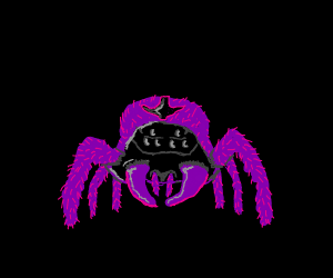 Purple floofy spider eyed alien