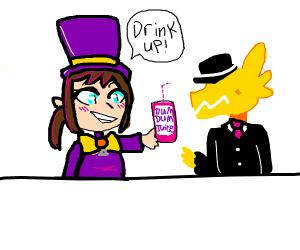 Girl makes guy drink
