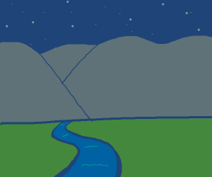 mountain with a river at night