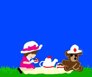 A girl has a tea party with teddy bear
