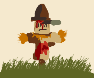 a bloody scarecrow with a knife in his head
