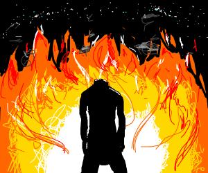 Headless man burn's village