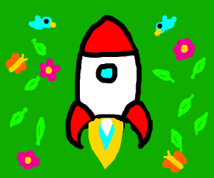 A rocket surrounded by pieces of spring