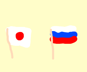 Japan and Russian flag