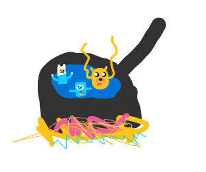 Bmo,jake, and finn in a frying pan
