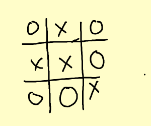 A tied game of tic-tac-toe