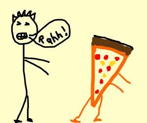 pizza runs away from bully