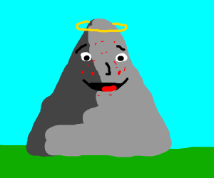 Mountain with halo laughing that has acne
