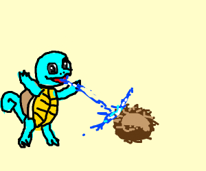 Squirtle uses Water gun on a coconut
