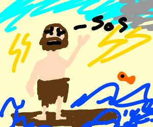 adam with a beard on a raft needs help
