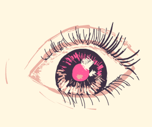 An eye with a red iris