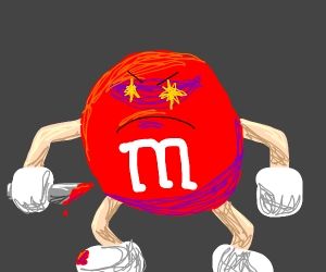 Evil red m&m with a bloody knife in its hands