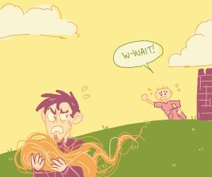 Guy steels Repunzels hair