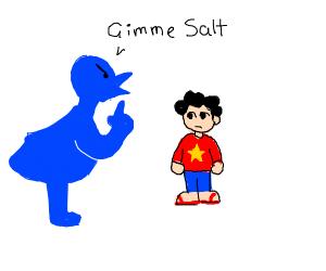 Angry blue bird furry asks Steven for salt