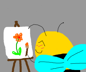bees drawing flower in class