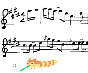 Furret walks through the musical scale