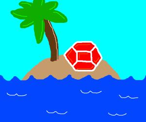 Red gem on an island