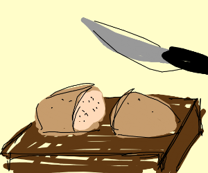 Bread being cut on table