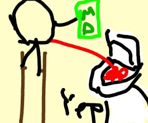 man on stilts holds mtn dew + has bloody pee