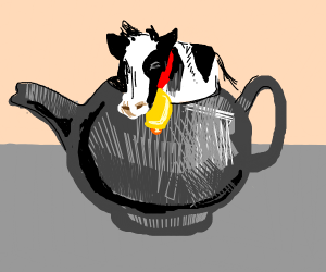 cow in a teapot
