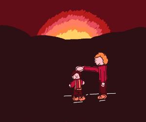 Touching a small man at sunrise