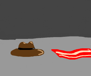 a hat.. and a.. bacon peice?
