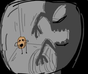 Shadows threatening a potato