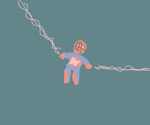 cute lil spideyman swingin from a web