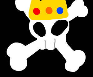 Skull and crossbones with a golden crown