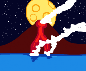 volcano running into ocean with full moon