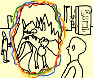 Monster eats man while going through a portal