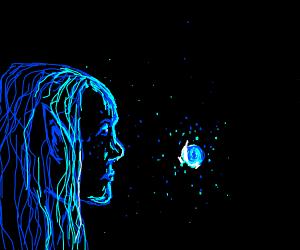 elf and a random blue dot