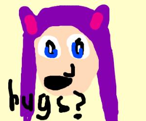 cat woman asking for hugs