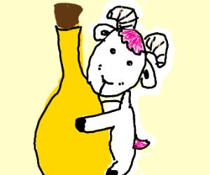 Goat hugging a Bottle