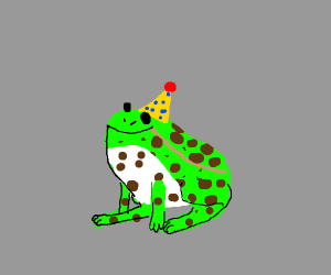 Leopard frog with a party hat