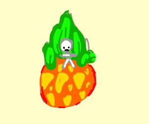 sad stickfigure on a pineapple :(