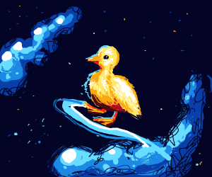 Duck surfs the cosmos