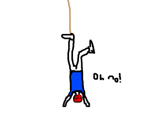 Hanging upside down, suspended by a rope