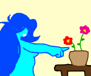 blue girl pointing at potted plants on table