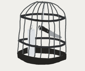 Knife and candle in a birdcage (no bird)