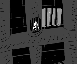 sad criminal in bars