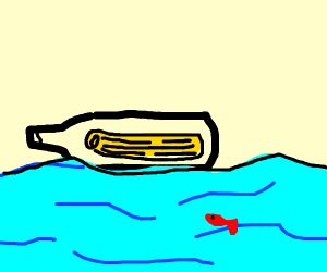scroll in a bottle, thrown to sea