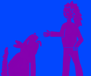 Purple Dog (left) and Purple woman (right)