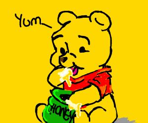 Pooh eating honey