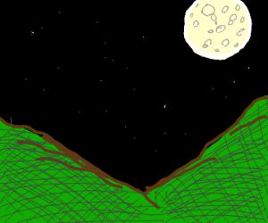 Night sky seen through valley