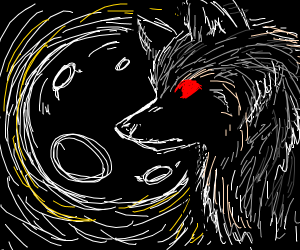 Red-Eyed Wolf Starring at the Moon
