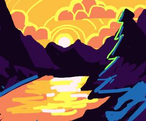 sun setting across water