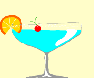 A drink with cherry and orange slice