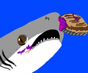 Cute shark eating a pie