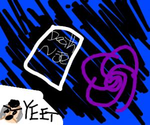 Okuyasu puts the Death Note in the  V O I D